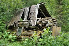 Old crashed hunting lodge in the woods. Stock Images