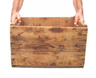 Old crate and hands isolated on white. Royalty Free Stock Photography