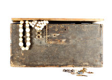Old crate with jewels Stock Photos