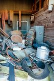 Old Crawford Mill in Walburg Texas, Movie Set Junk Stock Photo