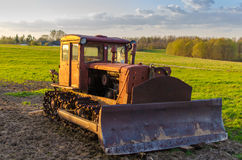 Old crawler tractor Stock Photo