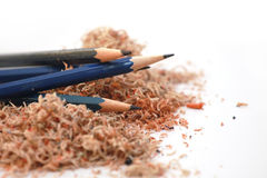Old crayons in the chip. Old sharpened pencils and shavings from sharpener Stock Photo