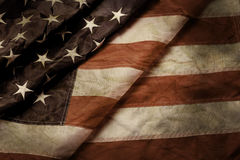 Old and creased US flag. stock image