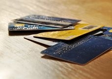 Old credit cards Royalty Free Stock Photography