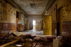 Old creepy corridor in abandoned hospital Royalty Free Stock Images