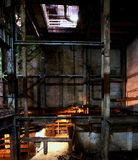 Old creepy, dark, decaying, destructive, dirty factory Royalty Free Stock Images
