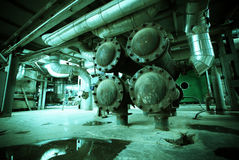 Old creepy, dark, decaying, destructive, dirty factory Stock Photo