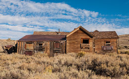 Old crooked house in Bodie ghost town Royalty Free Stock Photography