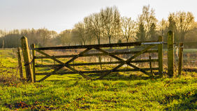Old and crooked wooden gate near a nature area Royalty Free Stock Photography