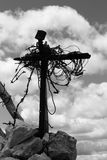 Old cross with a barbed wire, reminiscence of a World War I, Ita Royalty Free Stock Images
