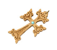 Old cross of carved wood decorated with turquoise Stock Images