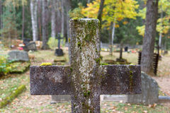 Old cross gravestone Royalty Free Stock Images