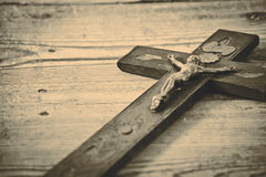 Old cross with jesus on the old floor Royalty Free Stock Photography