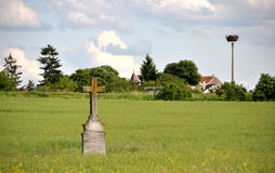 Old cross in the landscape. The Czech Republic Royalty Free Stock Images