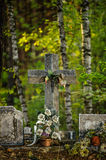 Old Cross. Old metal cross in the woods Stock Images