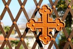 Old Cross Symbol On The Church Garden Door. Cross Symbol On The Church Garden Door Stock Image