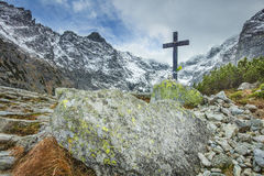 Old cross for victims. In Poland Stock Images