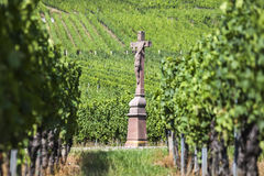 Old Cross in the Vineyard, France Royalty Free Stock Images