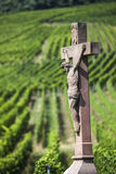 Old Cross in the Vineyard, France Stock Images