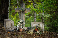 Old Cross. In the woods royalty free stock photography