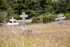 Old crosses at the historic orthodox cemetery of Fort Ross Royalty Free Stock Image