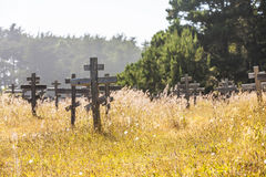 Old crosses at the historic orthodox cemetery of Fort Ross Stock Images