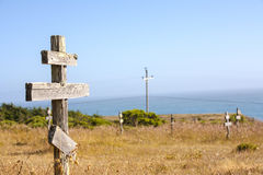 Old crosses at the historic orthodox cemetery of Fort Ross. Old wooden crosses at the historic orthodox cemetery of Fort Ross Royalty Free Stock Photos