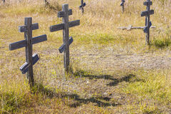 Old crosses at the historic orthodox cemetery of Fort Ross. Old wooden crosses at the historic orthodox cemetery of Fort Ross Stock Image