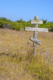 Old crosses at the historic orthodox cemetery of Fort Ross. Old wooden crosses at the historic orthodox cemetery of Fort Ross Stock Images
