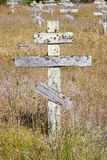 Old crosses at the historic orthodox cemetery of Fort Ross. Old wooden crosses at the historic orthodox cemetery of Fort Ross Royalty Free Stock Photography