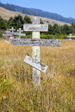 Old crosses at the historic orthodox cemetery of Fort Ross Royalty Free Stock Photos