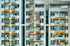 Old Crowded Apartments in Hong Kong Stock Photo