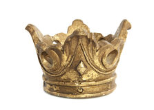 Old crown. Old vintage golden crown isolated over white Stock Photo