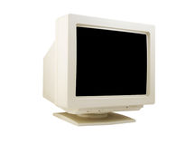 Old CRT monitor. Isolated on white background Stock Photos