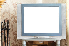 Old CRT TV with cut out screen. In home Royalty Free Stock Photo