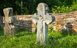 Old crucifix gravestones. In Pyrohiv near Kyiv, Ukraine Stock Photography