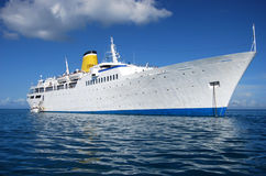 Old cruise ship on achor Royalty Free Stock Images