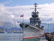 Old cruiser Mikhail Kutuzov in Novorossiysk, Russia Royalty Free Stock Photo