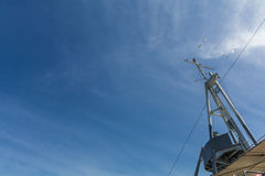 Old cruiser ship communication tower with blue sky Stock Photography
