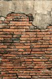 Old crumbling brick wall vertical background. Sagging brick wall in the ancient thai capital of ayutthaya royalty free stock photos