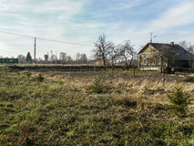 The old crumbling building in the Russian province in the Kaluga region. Royalty Free Stock Photos