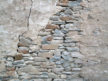 Old Crumbling Rock Wall. A weather beaten old ruin crumbling rock wall. Photo taken in a small South Australian town Stock Image