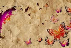 Old crumpled paper and painted colorful butterflies. Royalty Free Stock Photos