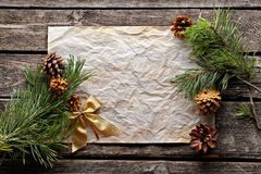 Old crumpled paper with spruce twigs Stock Photos