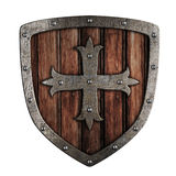 Old crusader wooden shield illustration isolated. On white Stock Photography