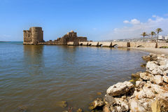 Old crusaders castle of 13th century with the bridge into the se. A in Saida, Lebanon Stock Images