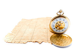 Old crushed paper with a clock Royalty Free Stock Photography