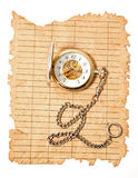 Old crushed paper with a clock Royalty Free Stock Photo