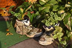 Old shoes used as flower pots stock photo
