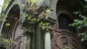 Old crypt in cemetery stock video footage